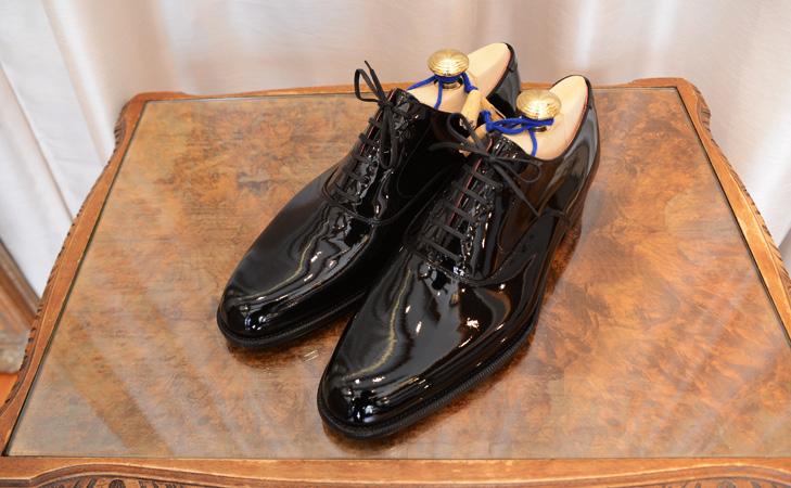 大塚製靴エナメル内羽根プレーントウブラック